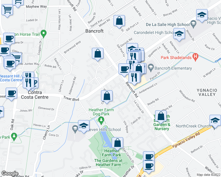map of restaurants, bars, coffee shops, grocery stores, and more near 1859 Olmo Way in Walnut Creek