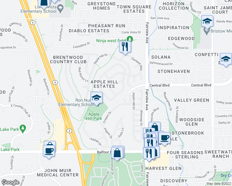 map of restaurants, bars, coffee shops, grocery stores, and more near 805 Devonshire Loop in Brentwood
