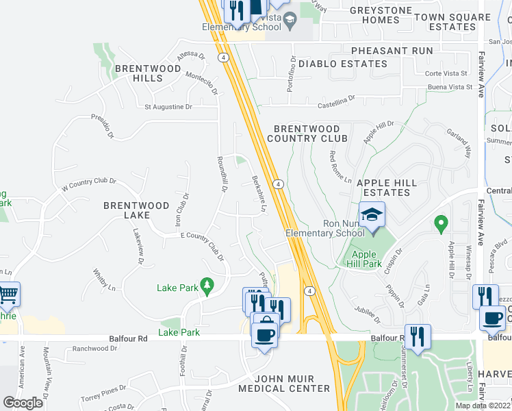 map of restaurants, bars, coffee shops, grocery stores, and more near 820 Riviera Court in Brentwood