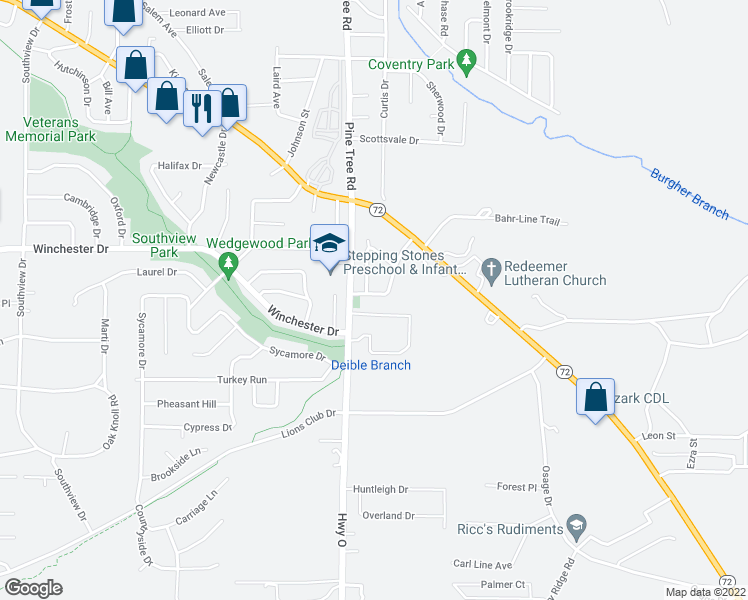 map of restaurants, bars, coffee shops, grocery stores, and more near 1407 Commercial Drive in Rolla