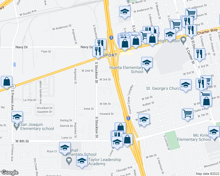 map of restaurants, bars, coffee shops, grocery stores, and more near Herman Court in Stockton