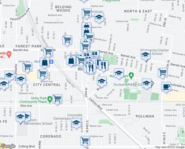 map of restaurants, bars, coffee shops, grocery stores, and more near 245 24th Street in Richmond