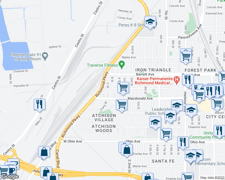map of restaurants, bars, coffee shops, grocery stores, and more near 2-50 West Nevin Avenue in Richmond