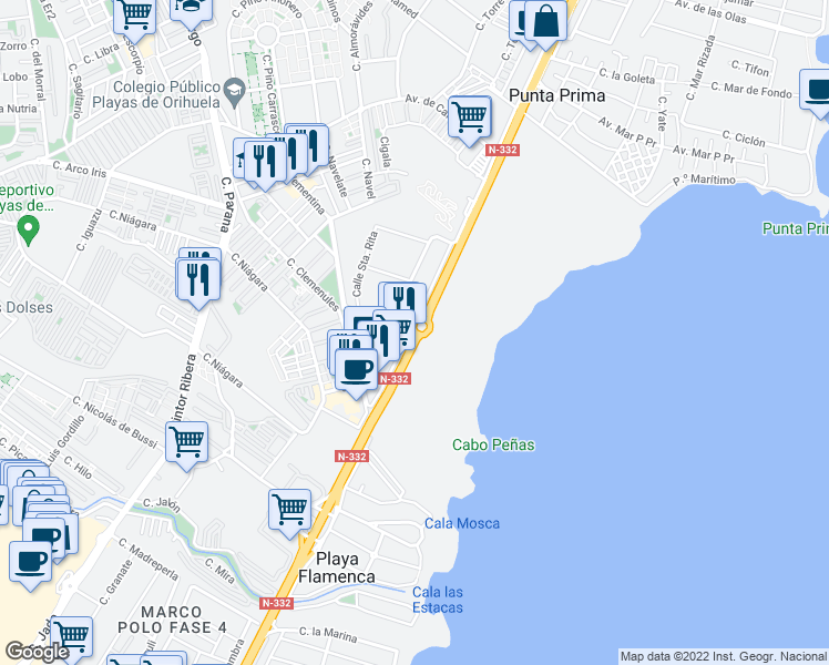 map of restaurants, bars, coffee shops, grocery stores, and more near 23 Calle Santa Alodia in Orihuela