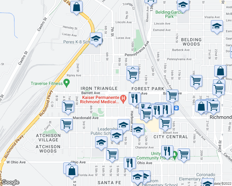 map of restaurants, bars, coffee shops, grocery stores, and more near 700 Barrett Avenue in Richmond