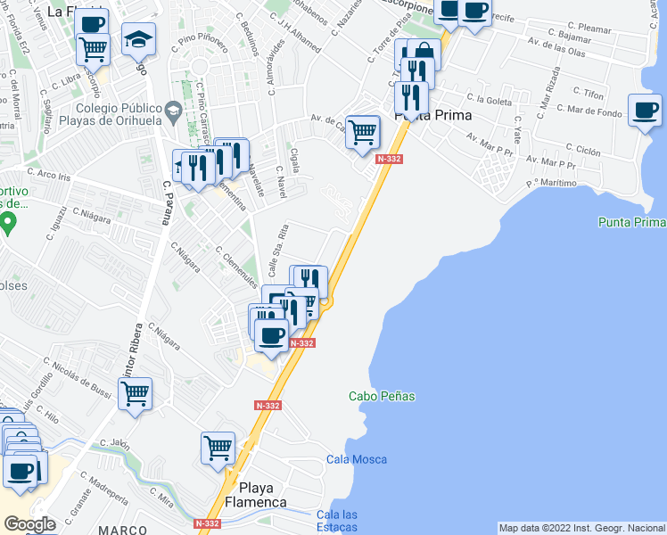 map of restaurants, bars, coffee shops, grocery stores, and more near 6 Calle Santa Alodia in Orihuela