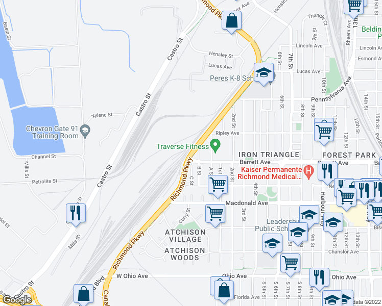 map of restaurants, bars, coffee shops, grocery stores, and more near 403 South Garrard Boulevard in Richmond