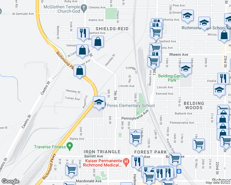 map of restaurants, bars, coffee shops, grocery stores, and more near 7th Street in Richmond