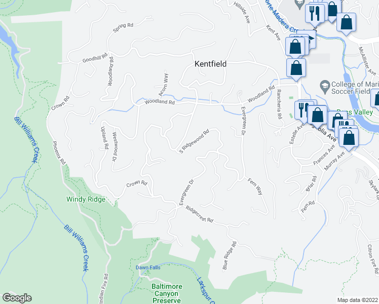 map of restaurants, bars, coffee shops, grocery stores, and more near 110 South Ridgewood Road in Kentfield