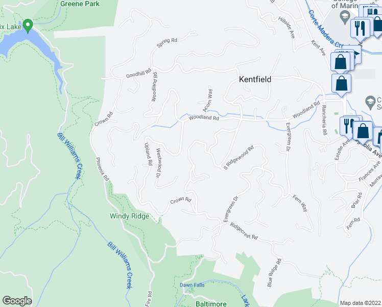 map of restaurants, bars, coffee shops, grocery stores, and more near 35 Idlewood Road in Kentfield