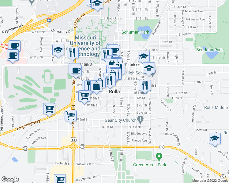 map of restaurants, bars, coffee shops, grocery stores, and more near 600 North Pine Street in Rolla