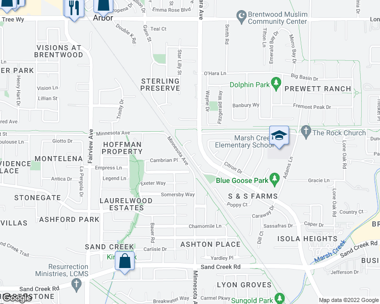 map of restaurants, bars, coffee shops, grocery stores, and more near 883 Marjoram Drive in Brentwood