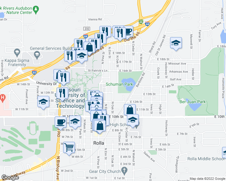 map of restaurants, bars, coffee shops, grocery stores, and more near 1301 North Oak Street in Rolla