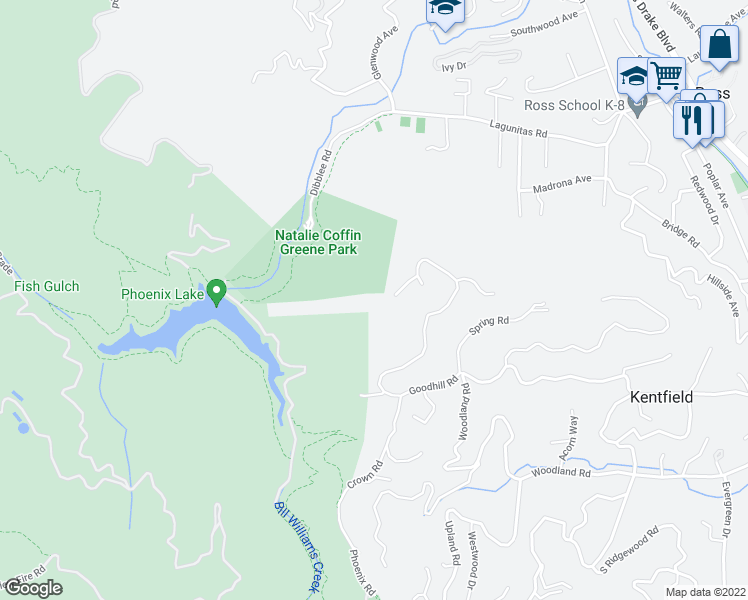 map of restaurants, bars, coffee shops, grocery stores, and more near 660 Goodhill Road in Kentfield