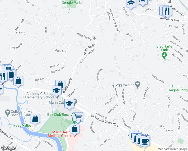 map of restaurants, bars, coffee shops, grocery stores, and more near 60 Corte Alegre in Kentfield