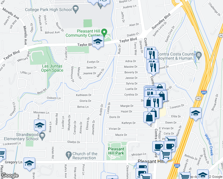 map of restaurants, bars, coffee shops, grocery stores, and more near 1778 Ruth Drive in Pleasant Hill