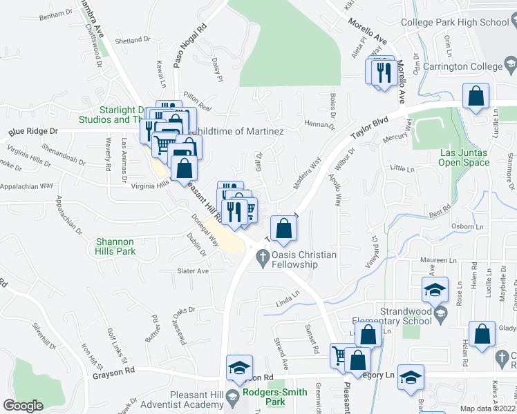 map of restaurants, bars, coffee shops, grocery stores, and more near 5 Pomfret Walk in Pleasant Hill