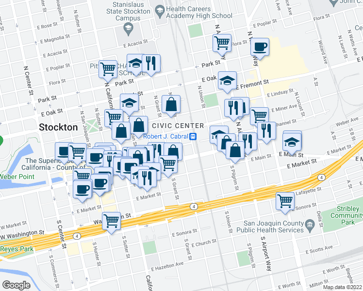 map of restaurants, bars, coffee shops, grocery stores, and more near Aurora St & E Channel St in Stockton