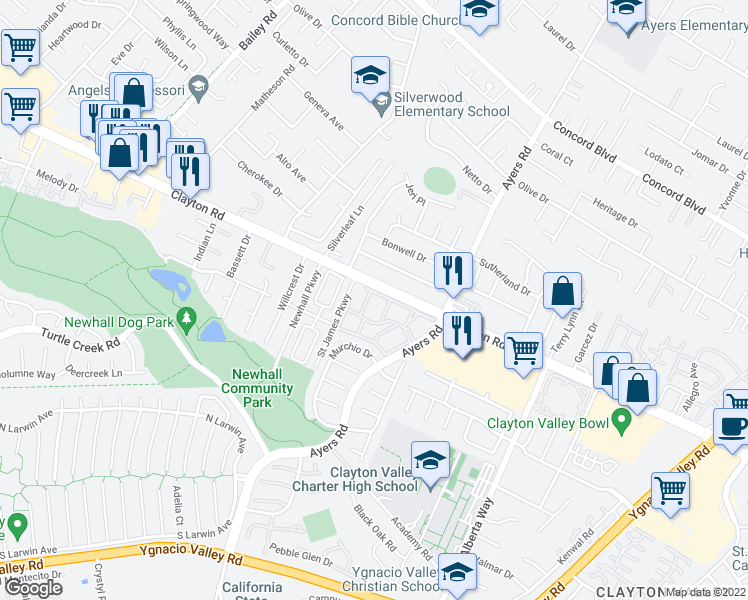 map of restaurants, bars, coffee shops, grocery stores, and more near 5035 Valley Crest Drive in Concord