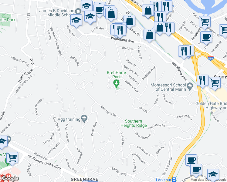map of restaurants, bars, coffee shops, grocery stores, and more near 209 Irwin Street in San Rafael