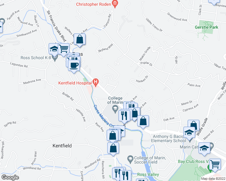 map of restaurants, bars, coffee shops, grocery stores, and more near Altamira Avenue in Kentfield