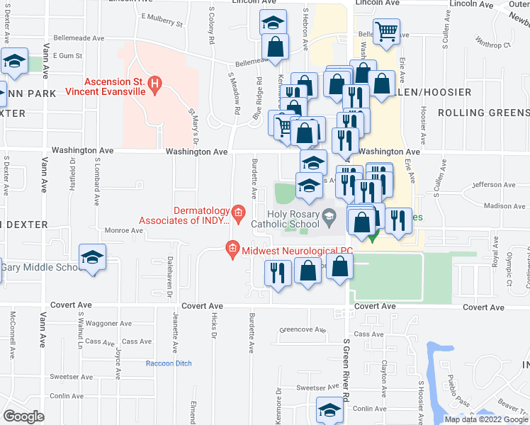 map of restaurants, bars, coffee shops, grocery stores, and more near 1165 Shiloh Square in Evansville