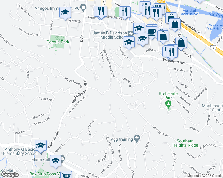 map of restaurants, bars, coffee shops, grocery stores, and more near 19 Meyer Road in San Rafael