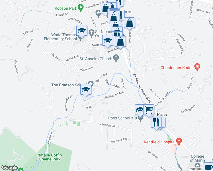 map of restaurants, bars, coffee shops, grocery stores, and more near 2 Hillgirt Drive in Ross