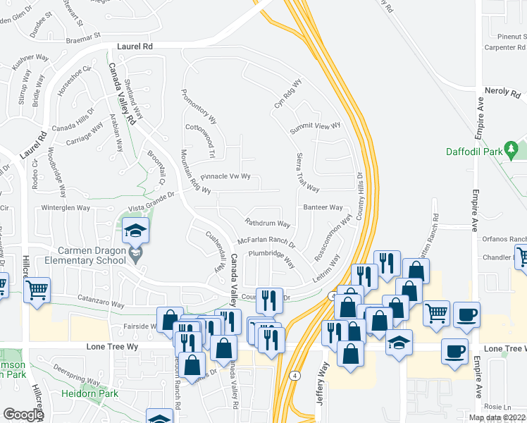 map of restaurants, bars, coffee shops, grocery stores, and more near 5535 Coachford Way in Antioch