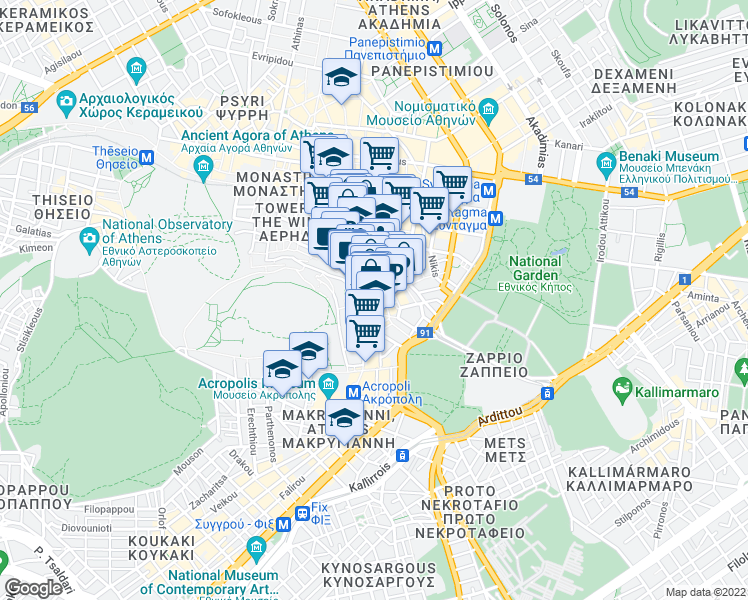 map of restaurants, bars, coffee shops, grocery stores, and more near in Athina