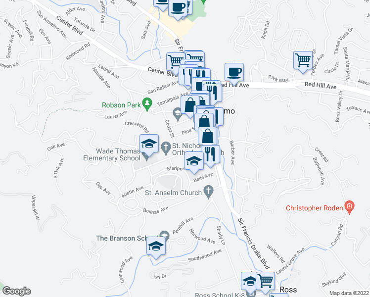 map of restaurants, bars, coffee shops, grocery stores, and more near 50 Ross Avenue in San Anselmo