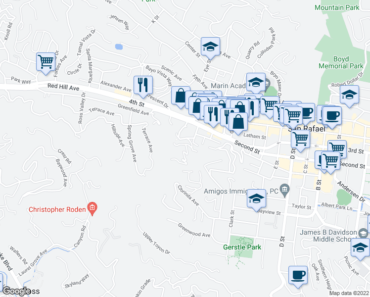 map of restaurants, bars, coffee shops, grocery stores, and more near 10 Upper Fremont Drive in San Rafael