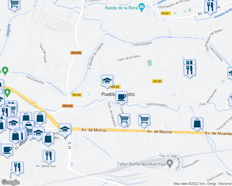 map of restaurants, bars, coffee shops, grocery stores, and more near 6 Calle Bando Huerta in Puebla de Soto