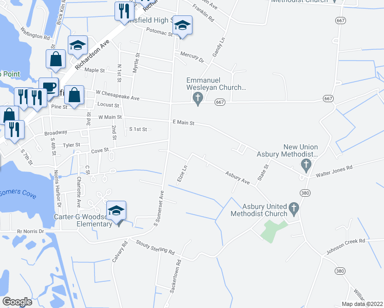 map of restaurants, bars, coffee shops, grocery stores, and more near 17 Asbury Avenue in Crisfield