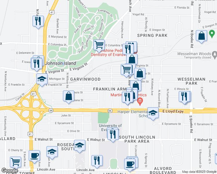 Evansville Illinois Map.1730 East Illinois Street Evansville In Walk Score