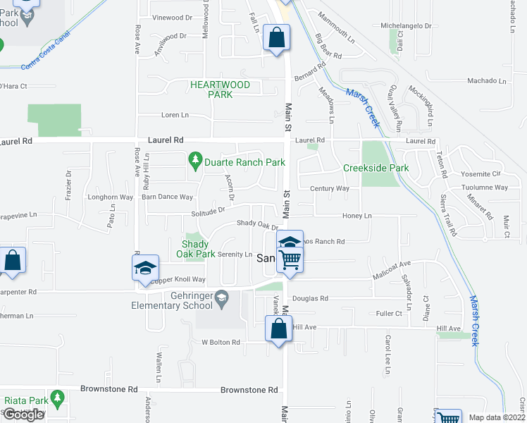 map of restaurants, bars, coffee shops, grocery stores, and more near Saddle Drive in Oakley