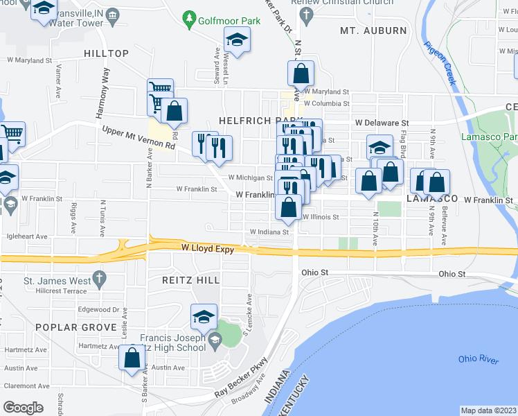 Evansville Illinois Map.2513 West Illinois Street Evansville In Walk Score