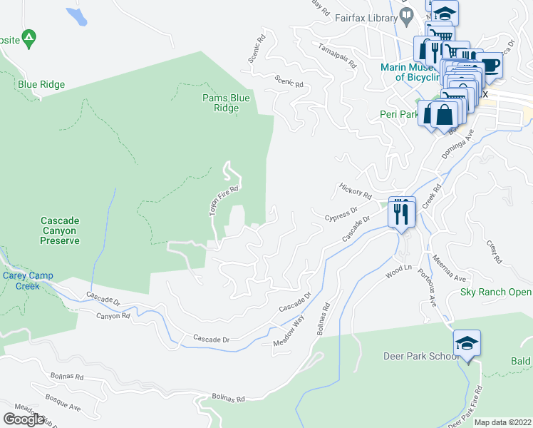 map of restaurants, bars, coffee shops, grocery stores, and more near 200 Toyon Drive in Fairfax