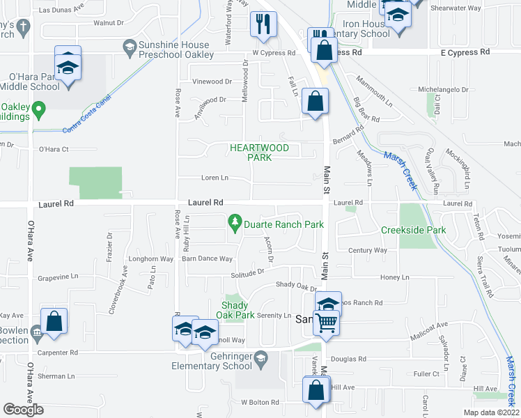 map of restaurants, bars, coffee shops, grocery stores, and more near 3889 Acorn Drive in Oakley