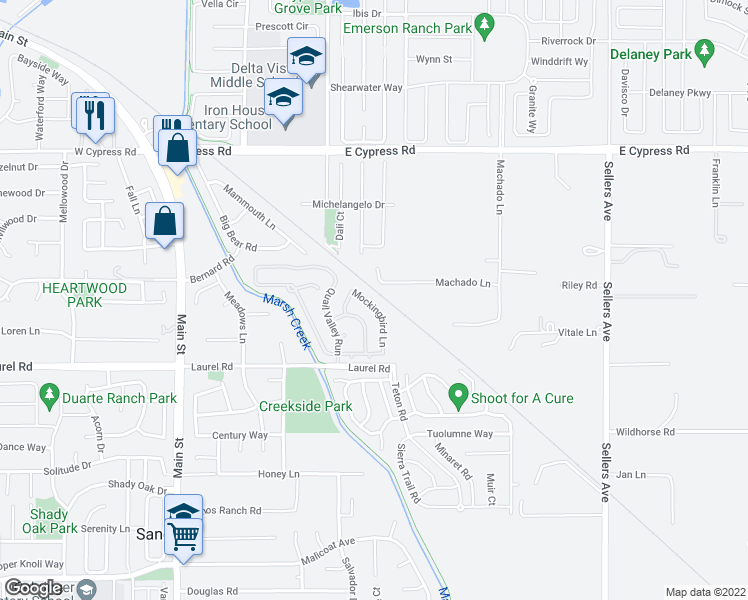 map of restaurants, bars, coffee shops, grocery stores, and more near 550 Mockingbird Lane in Oakley