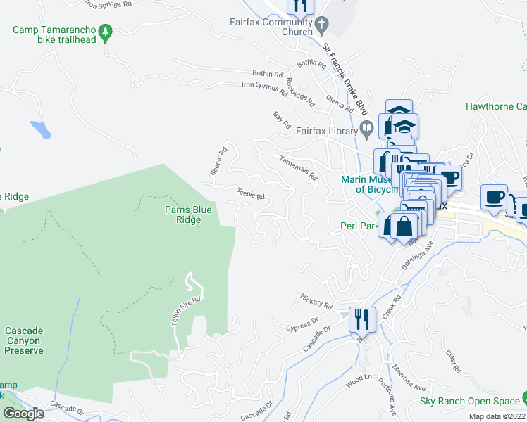 map of restaurants, bars, coffee shops, grocery stores, and more near 408 Scenic Road in Fairfax
