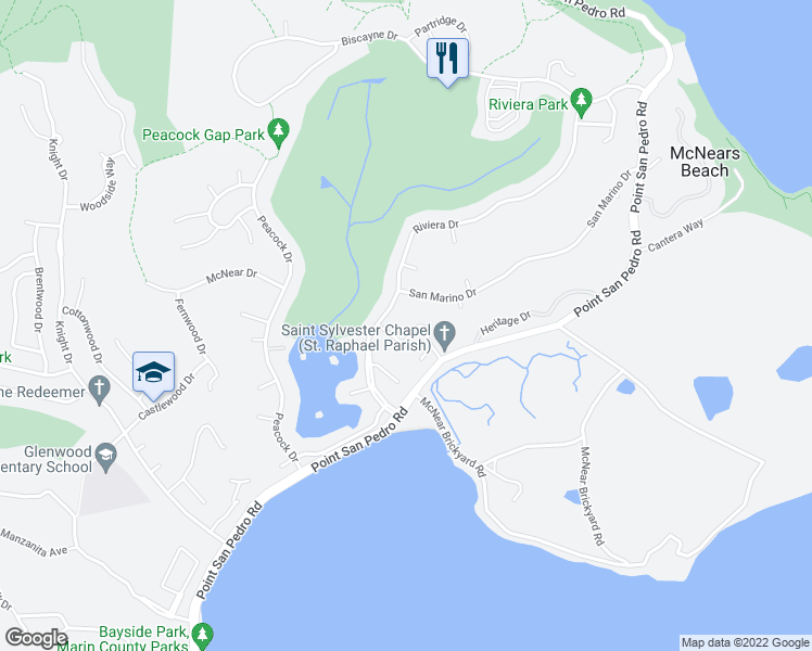 map of restaurants, bars, coffee shops, grocery stores, and more near 30 Chapel Cove Drive in San Rafael