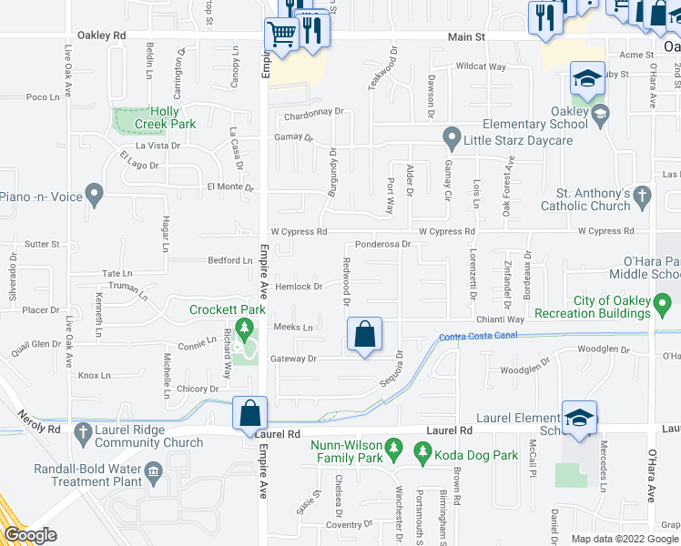 map of restaurants, bars, coffee shops, grocery stores, and more near 4327 Redwood Drive in Oakley