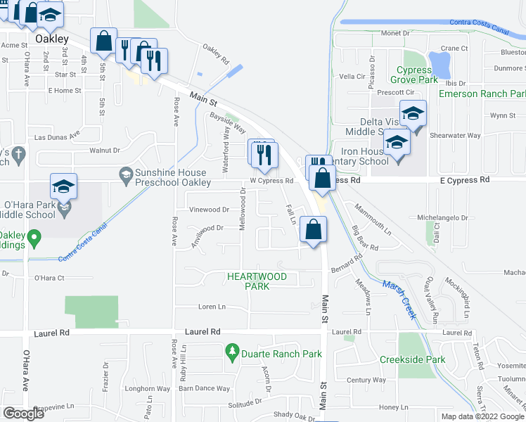 map of restaurants, bars, coffee shops, grocery stores, and more near 316 Cashew Lane in Oakley
