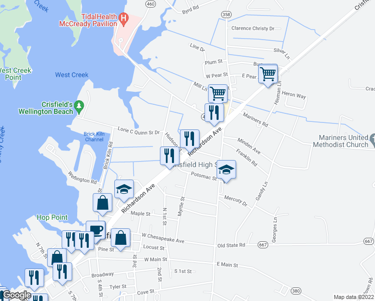 map of restaurants, bars, coffee shops, grocery stores, and more near 1-25 Hudson Street in Crisfield