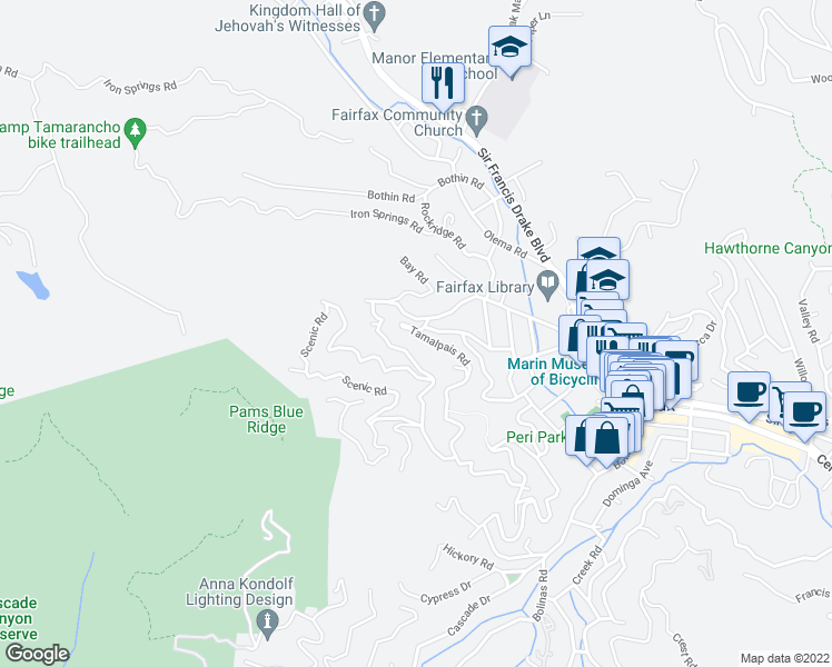 map of restaurants, bars, coffee shops, grocery stores, and more near Tamalpais Road in Fairfax