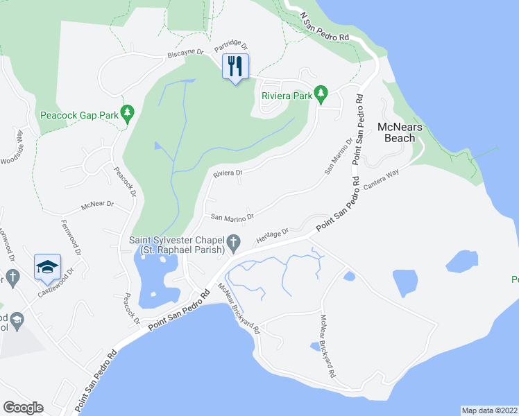 map of restaurants, bars, coffee shops, grocery stores, and more near 63 San Marino Drive in San Rafael