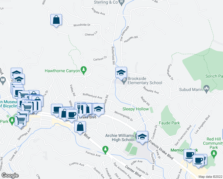 map of restaurants, bars, coffee shops, grocery stores, and more near 94 Butterfield Road in San Anselmo