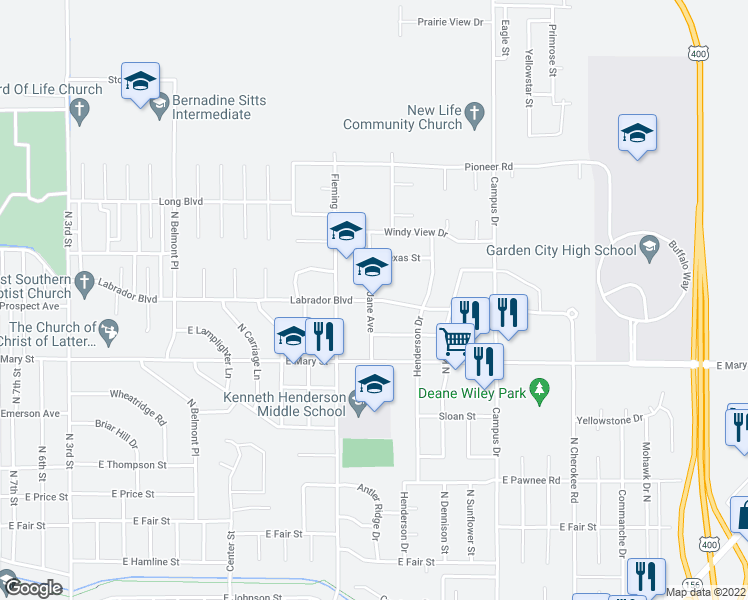 map of restaurants, bars, coffee shops, grocery stores, and more near 2700-2766 Pearly Jane Avenue in Garden City
