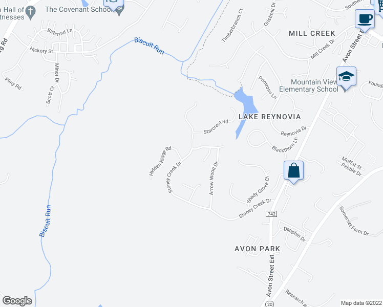 map of restaurants, bars, coffee shops, grocery stores, and more near 1608 Stoney Creek Drive in Charlottesville